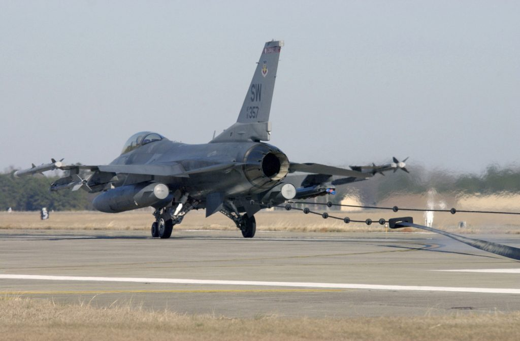 A US Air Force (USAF) F-16 Fighting Falcon